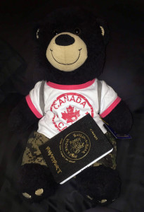 We also travel with Duke, our bear. He has been to 13 countries and his own Pawsport and backpack.