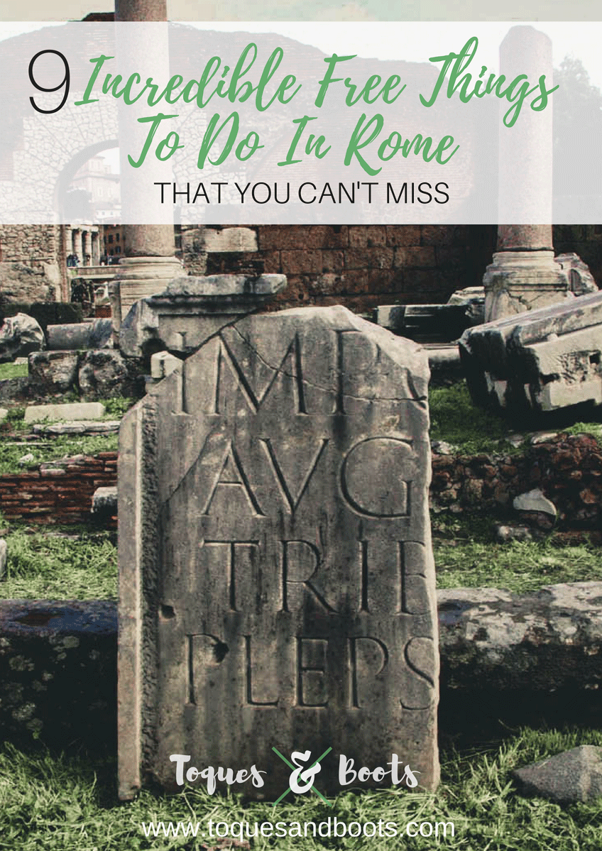 Rome Italy, known as the Eternal City. One of the most visited places in the world. Make the most of your time with these 9 free things to do in Rome.